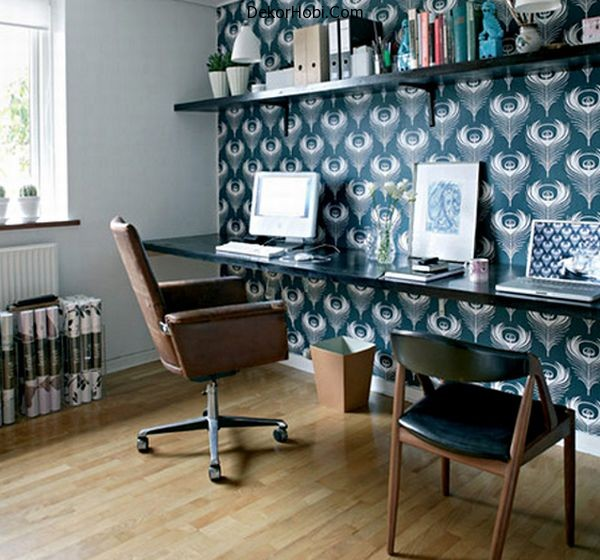 Cozy-home-office-in-bright-blue-and-with-ample-space