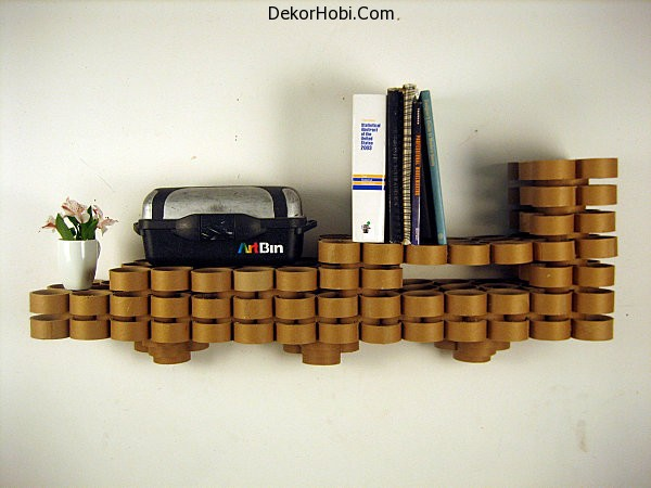 Cardboard-tube-wall-shelves