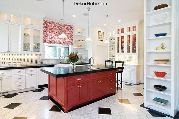 traditional-dark-red-kitchen-island