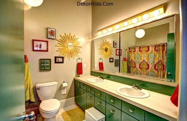 Stunning-kids-bathroom-with-beautiful-repurposed-green-cabinets