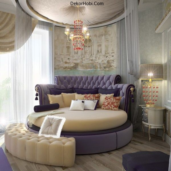 Round-bed-with-purple-hues-brings-in-a-regal-flavor