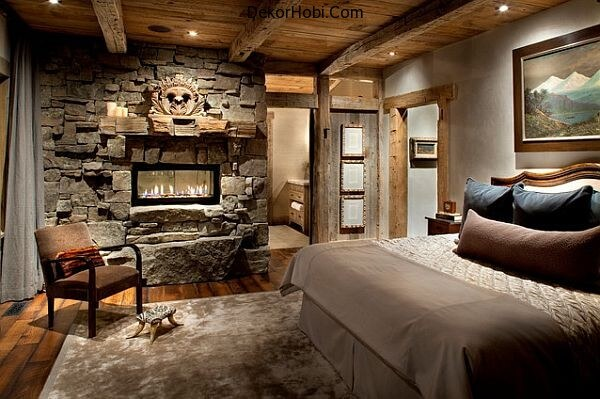 modern-rustic-bedroom-design-with-stone-wall-and-fireplace