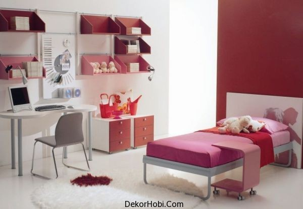 Contemporary-girls-bedroom-design-idea-in-white-pink-and-red