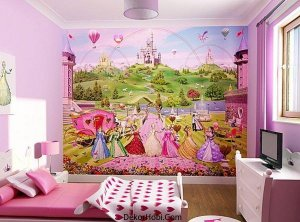 Disney-princess-wallpaper-can-turn-a-girls-bedroom-in-pink-and-white-into-something-magical