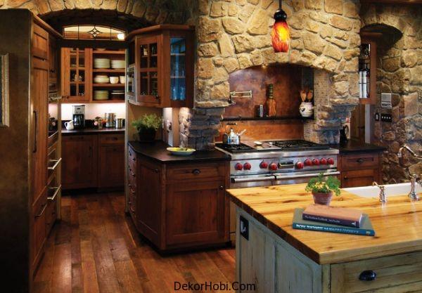 Mutfak İçin Taş Kaplama Dekorasyonu