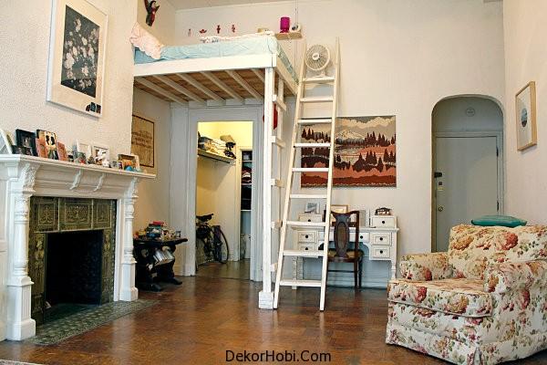 Yatak Odası Asma Tavanda Olan Stüdyo Daire