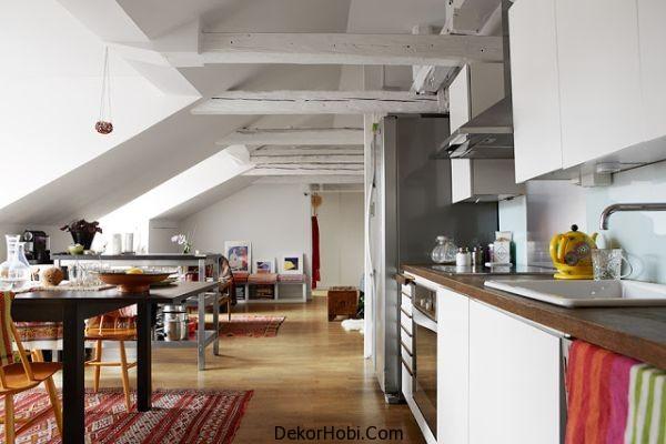 Tavan arası mutfak dekorasonu