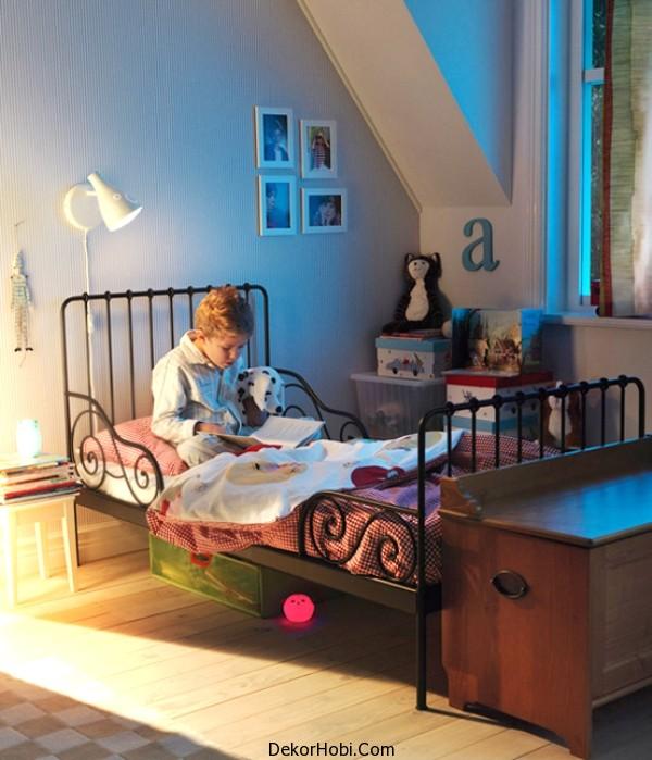 Müthiş Ikea Çocuk Yatak Odası Klasik Vurgular Metal Karyola