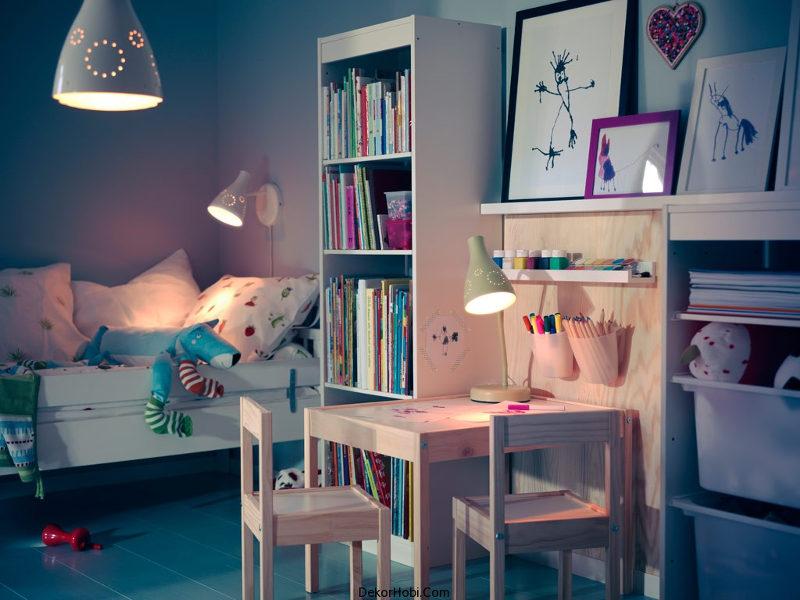 Parlak Ikea Çocuk Yatak Odası Kitaplık Ahşap Masa Zarif Beyaz Yatak