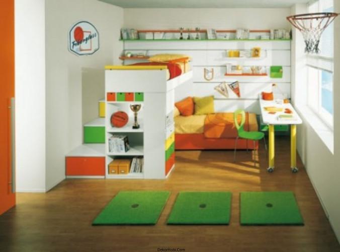 Renkli Ikea Çocuk Yatak Odası Ahşap Parke