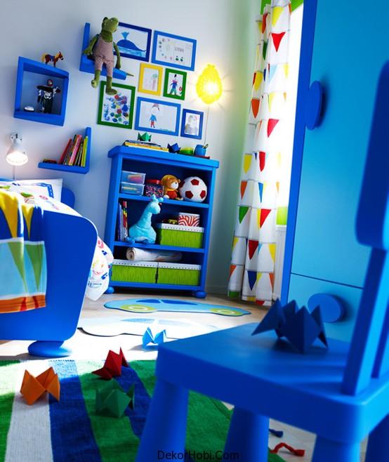 Zarif Mavi Modern Mobilya Ikea Eğlenceli Çocuk Yatak Odası Tasarımı