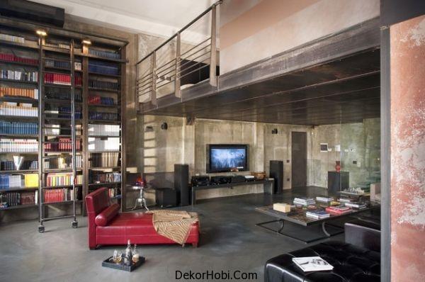Yüksek tavanlı ve modern dokunuşları ile endüstriyel loft