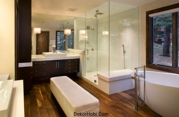 Cam duşakabinli banyo modeli