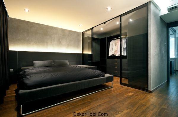 Gömme dolaplı siyah yatak odası