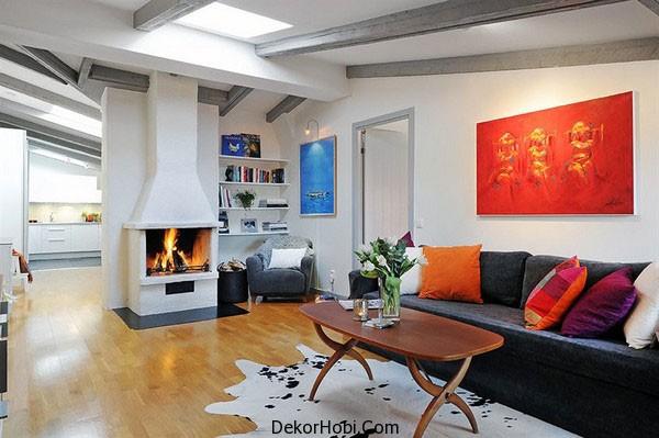 İskandinav Tarzı Oturma Odası Modeli