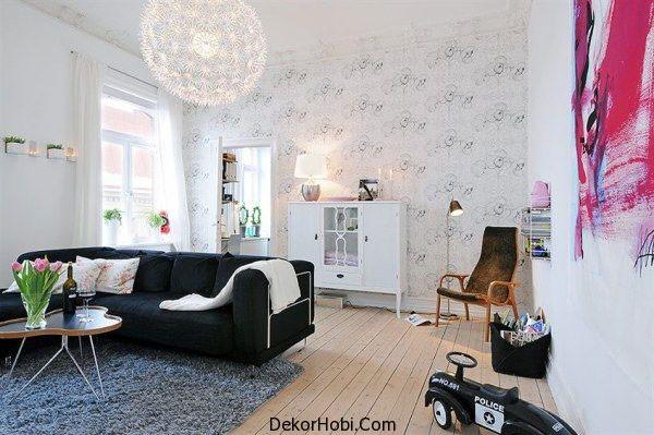 Beyaz İskandinav Tarzı Oturma Odası Modelleri