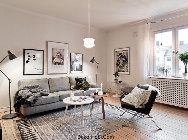Gri İskandinav Oturma Odası