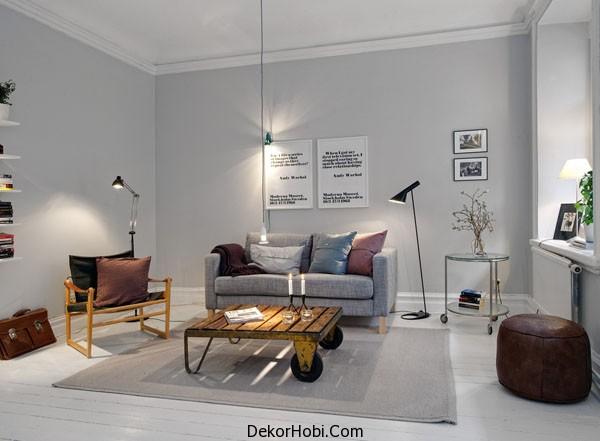 Oturma Odası Dekorasyonunda Gri Tonlar