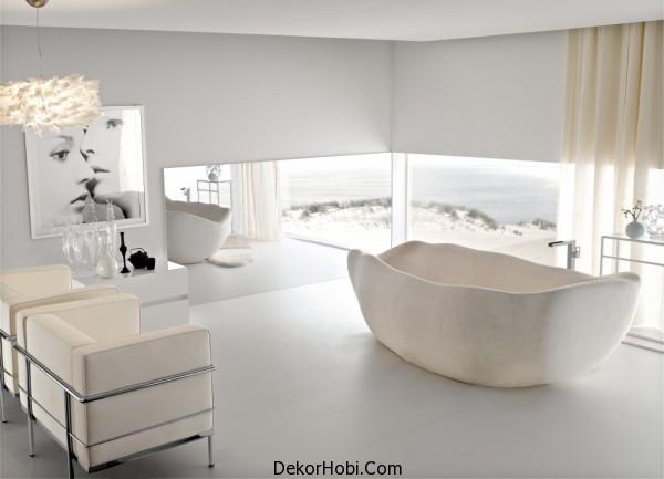 Modern Beyaz Banyo Tasarımı 2