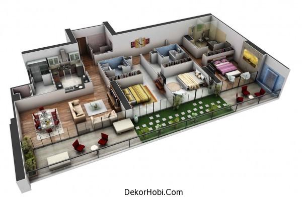 3 Yatak Odalı Daire - Ev Planları 1
