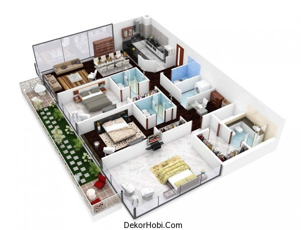 3 Yatak Odalı Daire - Ev Planları 2