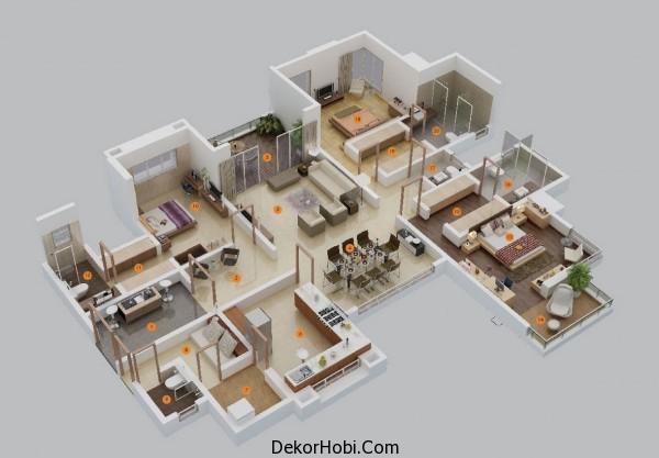 3 Yatak Odalı Daire - Ev Planları 3