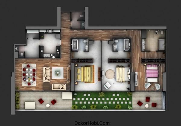 3 Yatak Odalı Daire - Ev Planları 5