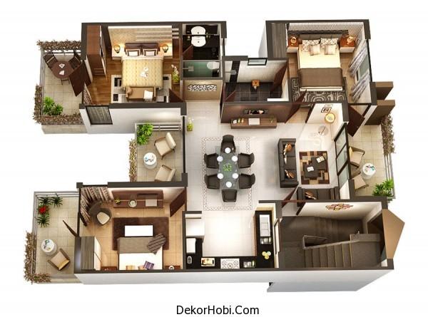 3 Yatak Odalı Daire - Ev Planları