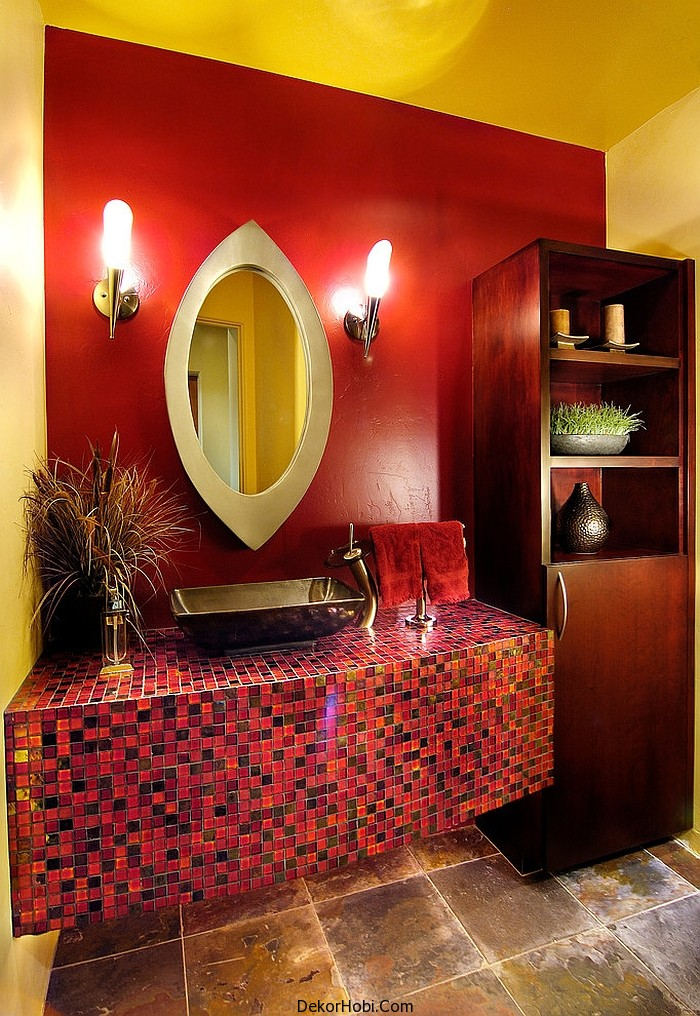 kırmızı banyo dekorasyonu12