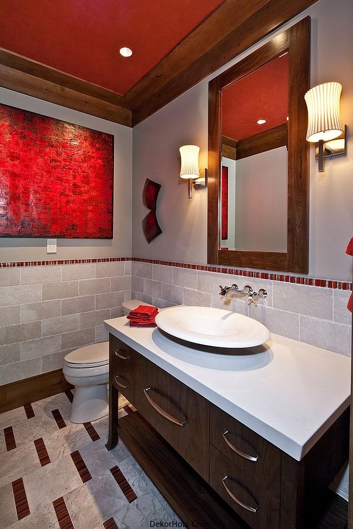 kırmızı banyo dekorasyonu9