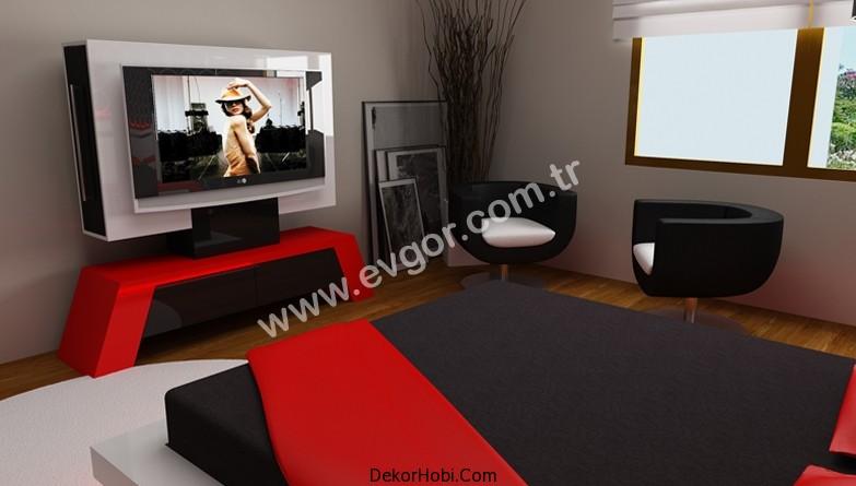 kırmızı siyah yatak odası modeli