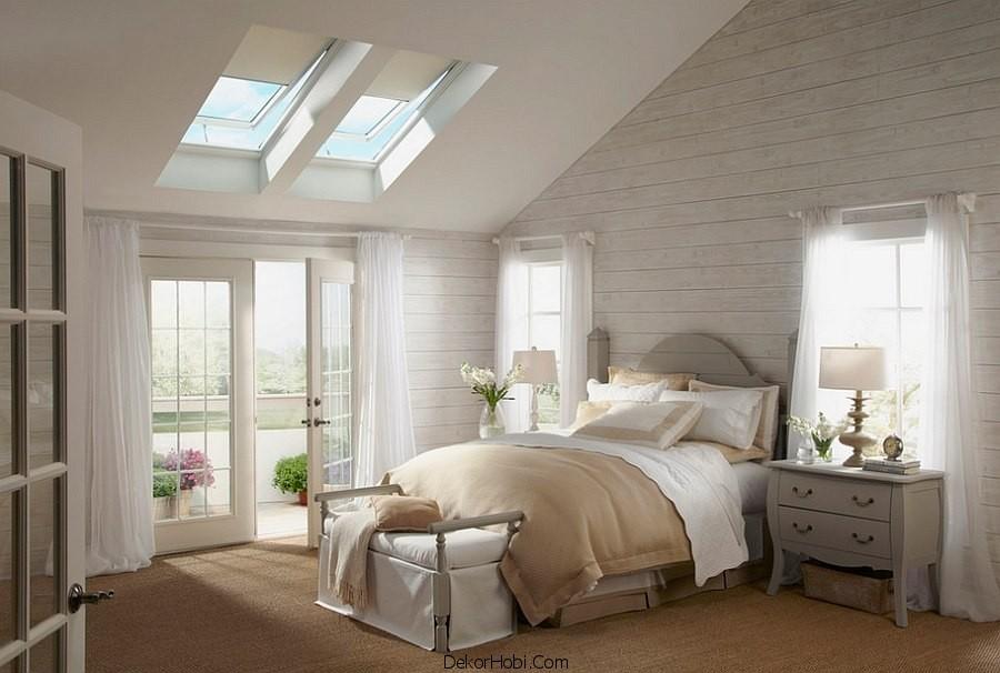 çatı katı yatak odası dekorasyonu1