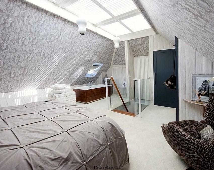 çatı katı yatak odası dekorasyonu11