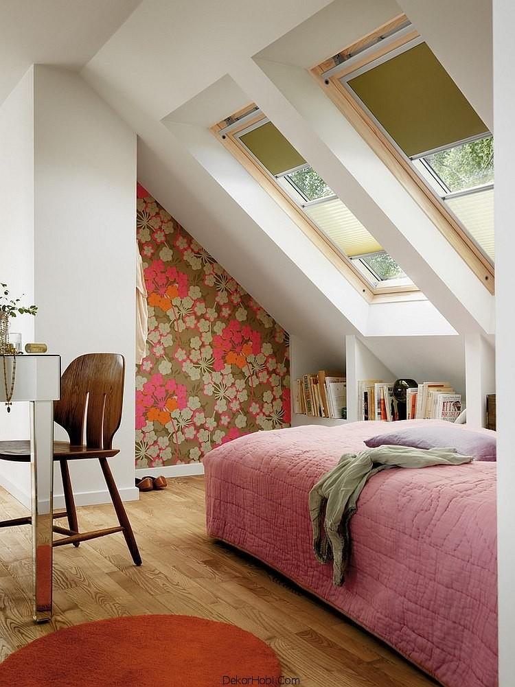 çatı katı yatak odası dekorasyonu9
