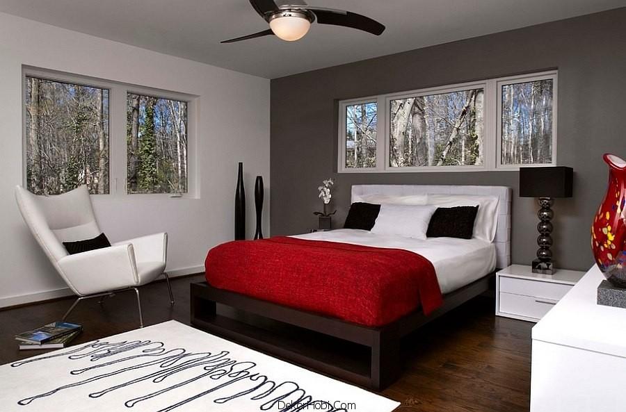 Kırmızı ve Gri Yatak Odası Modelleri 2