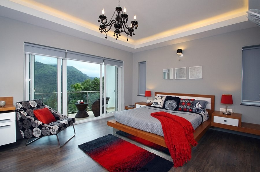 Kırmızı ve Gri Yatak Odası Modelleri 3