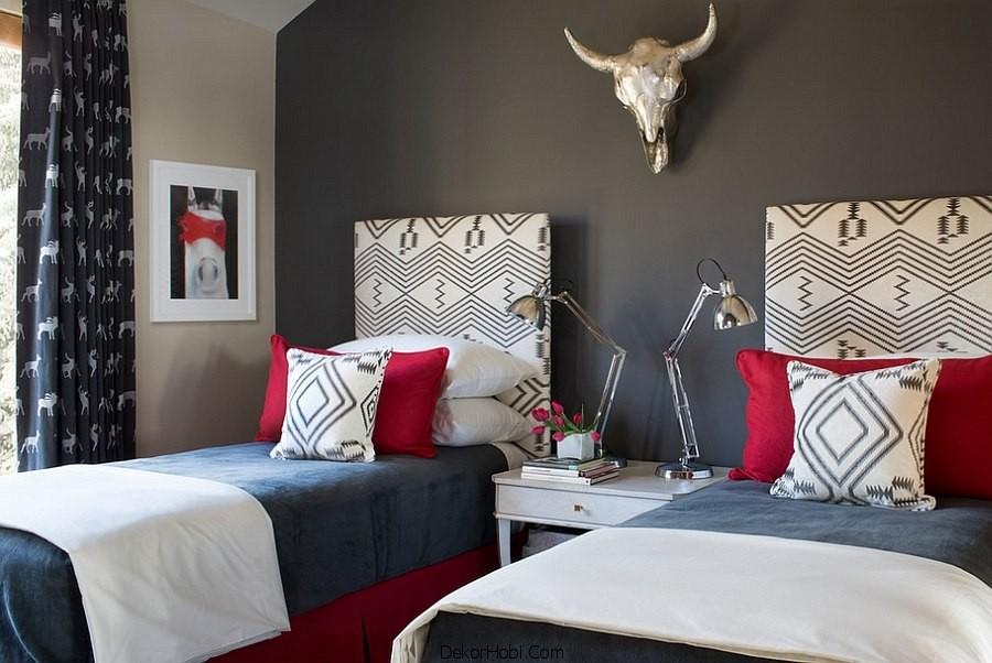 Kırmızı ve Gri Yatak Odası Modelleri 4