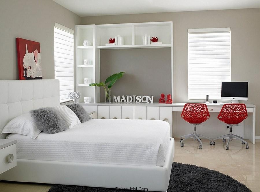 Kırmızı ve Gri Yatak Odası Modelleri 5