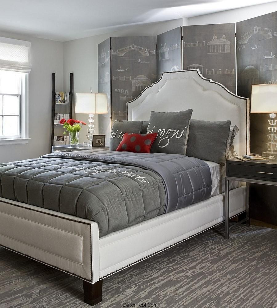 Kırmızı ve Gri Yatak Odası Modelleri 6