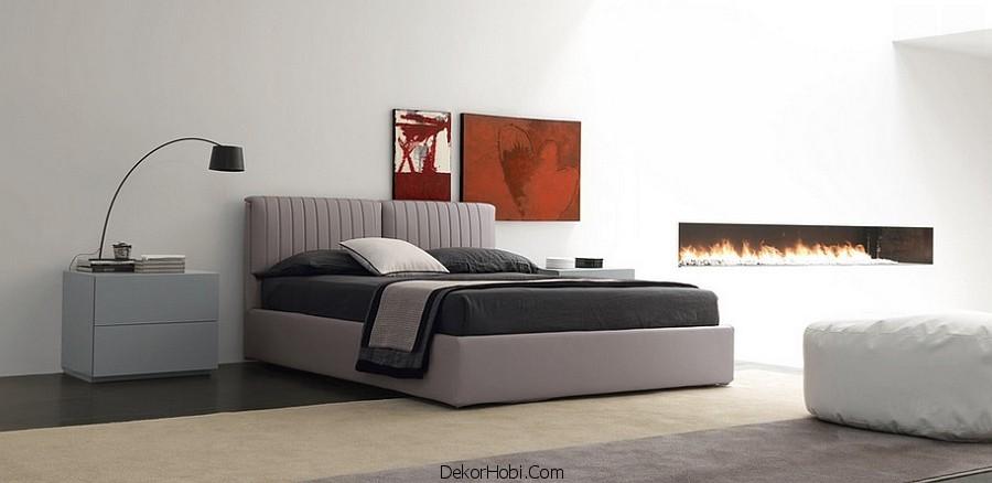 Kırmızı ve Gri Yatak Odası Modelleri 7