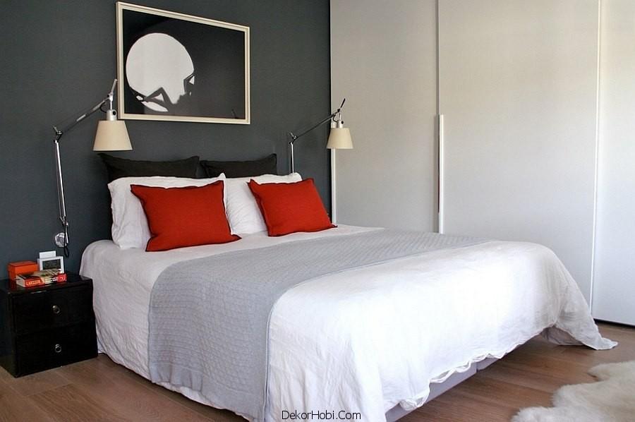 Kırmızı ve Gri Yatak Odası Modelleri 8
