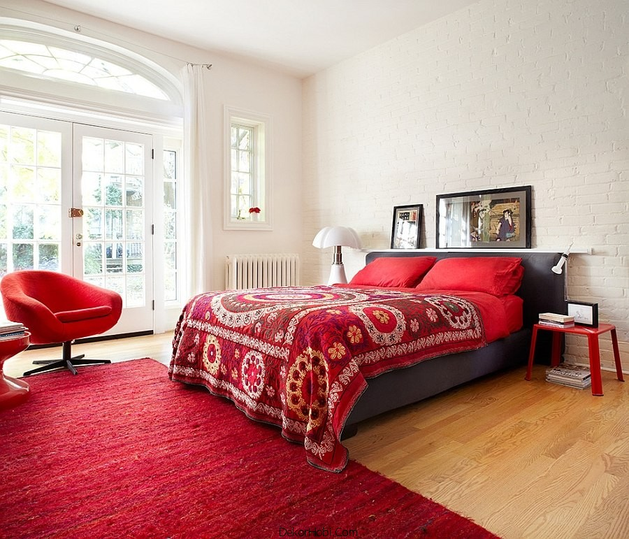 Kırmızı ve Gri Yatak Odası Modelleri 9