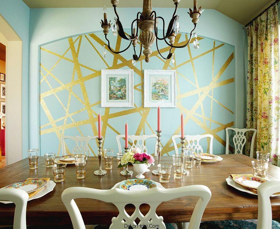 Çizgili Duvar Kağıtları İle Şık Yemek Odaları