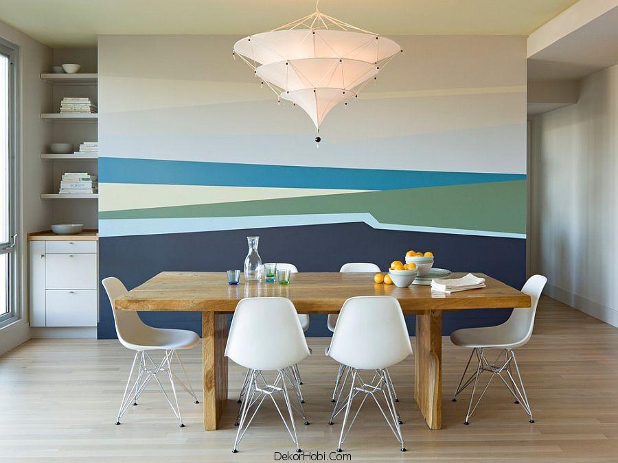 Çizgili Duvarlar İle Şık Yemek Odaları