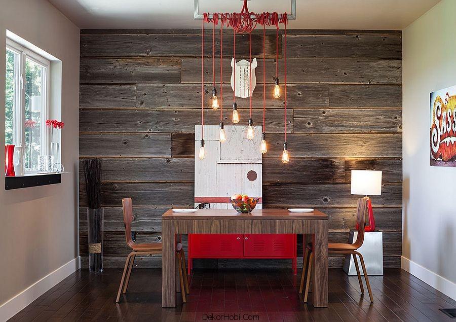 Ahşap Duvarlı Yemek Odası Tasarımı
