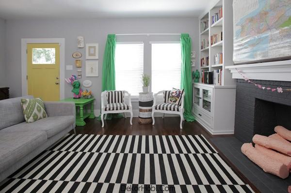 Siyah ve YEşil Oturma Odası Dekorasyonu