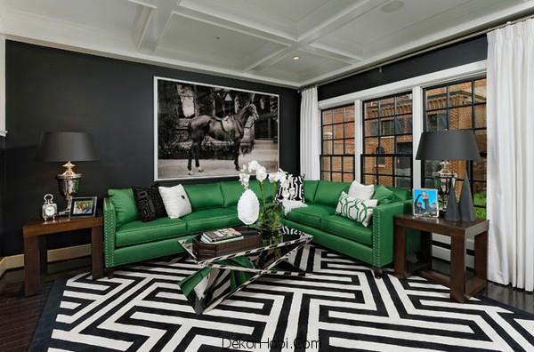Yeşil ve Siyah Oturma Odası Önerileri