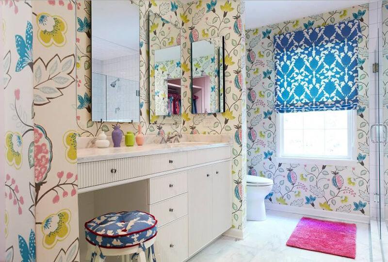 3 boyutlu renkli banyo duvar kagitlari