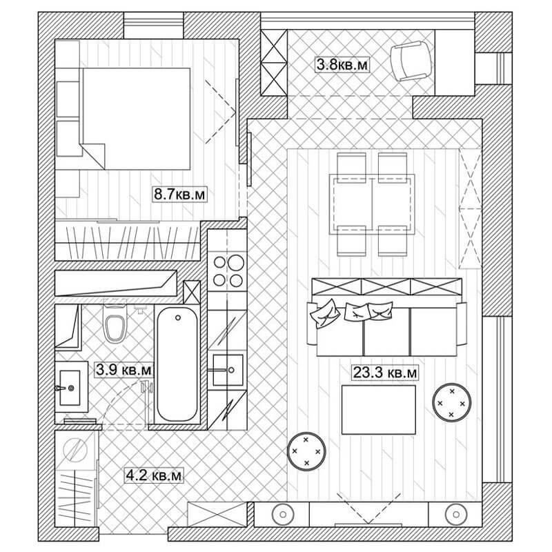 52 Metrekarelik Küçük Ev Planı