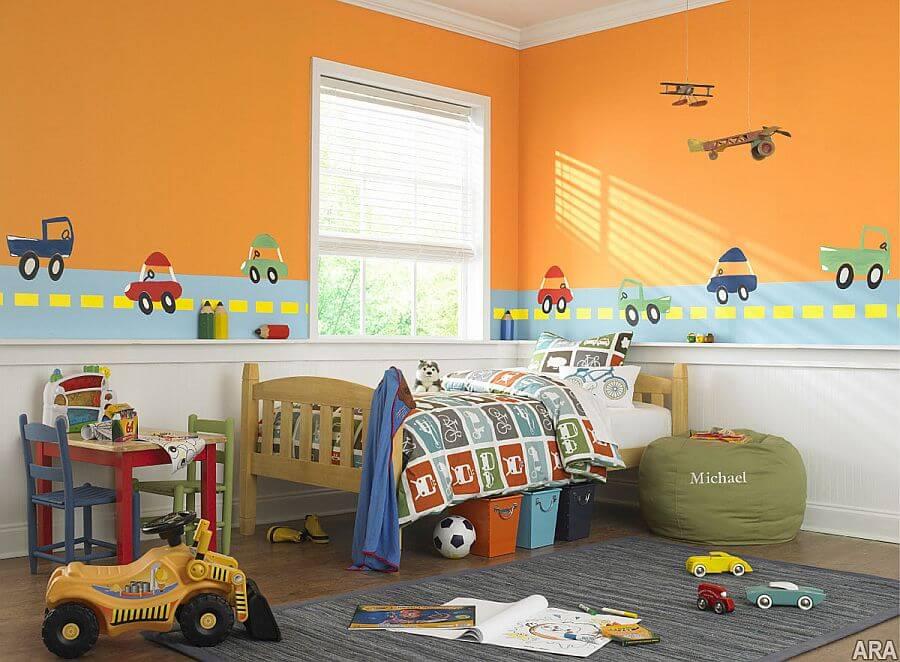 turuncu duvarlar cocuk odasi dekorasyonu